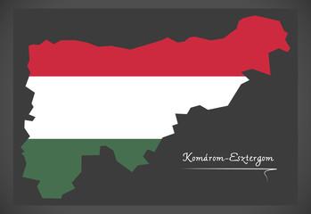 Komarom-Esztergom map of Hungary with Hungarian national flag illustration