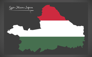 Gyor-Moson-Sopron map of Hungary with Hungarian national flag illustration