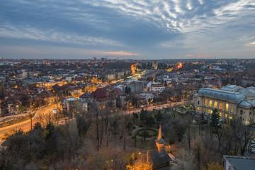 Bucharest aerial view at night - Cotroceni neighborhood