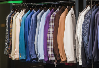 Elegant men clothing in a store