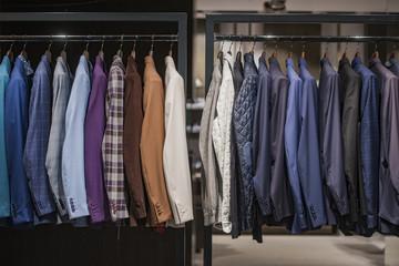 Elegant men clothing in a store