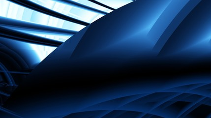 Black blue navy modern abstract fractal art. Complex background illustration with varied structures. Sci-fi mood. Computer generated image. Creative template for projects. Professional free style.