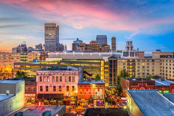 Fototapete - Memphis, Tennessee, USA skyline over Beale Street.