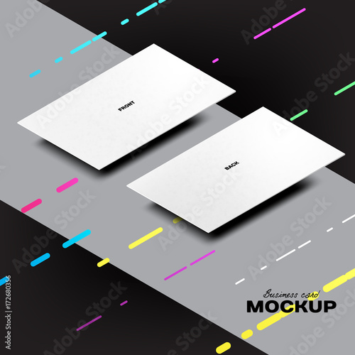 Realistic isometric business card mockup template front and realistic isometric business card mockup template front and backside laying down on colourmoves