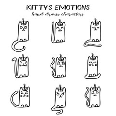 Pussycat emotions collection in hand drawn cartoon technique and grunge style isolated on white. Vector illustration