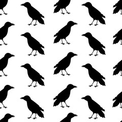 Seamless pattern from the black ravens