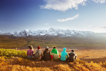 Friends group mountains travel concept
