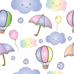 Seamless pattern of cute vector and illustration of pastel color balloon and umbrella flying in the sky with clouds and rain drops