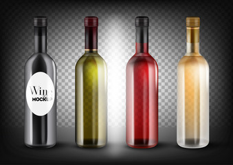 Different colors wine bottles set. Black, transparent - green, red (pink, rose) and white bottles. Vector illustration, customisable and easy to change colors