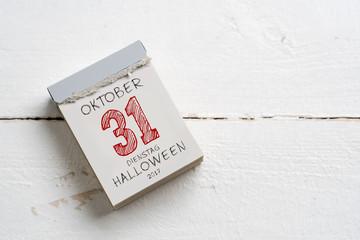 Abreißkalender mit Datum von Halloween