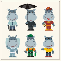 Set funny Hippo in different clothing: sportsman, worker, manager, summer, autumn, sleepwear. Collection isolated hippopotamus in clothing in cartoon style.