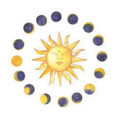 Set of watercolor moon phases and sun. Trendy hipster logotypes. Isolated on white background.