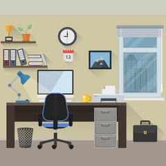 Flat design workplace. File is in eps10 format.