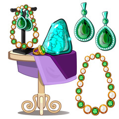 Jewels of emeralds and pearls. Earrings, ring, necklace, untreated green crystal. Presentation of jewels on the table. Vector set isolated on white background. Illustration in cartoon style
