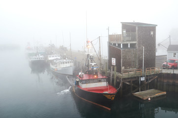 Lobster fishing boats early morning in portsmouth