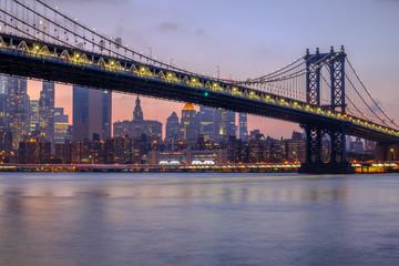Manhattan Bridge and Downtown Manhattan during sunset