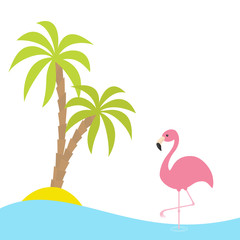 Pink flamingo standing on one leg. Two palms tree, island, ocean, see water. Exotic tropical bird. Zoo animal collection. Cute cartoon character. Flat design. White background. Isolated.