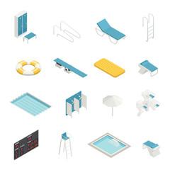 Swimming Pool Isometric Elements Set