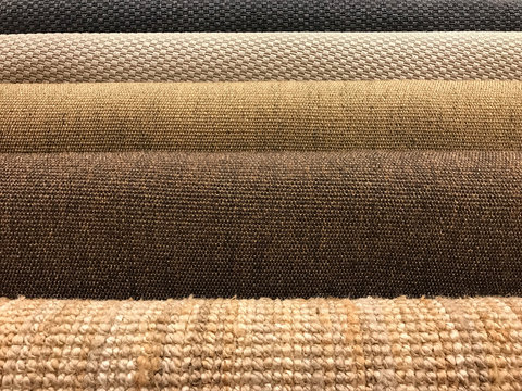 Samples of different woven carpet texture from sisal and natural fiber for background