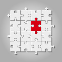 illustration of white puzzle made of little pieces with red element
