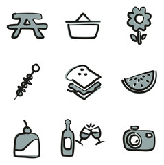 Picnic Icons Freehand 2 Color