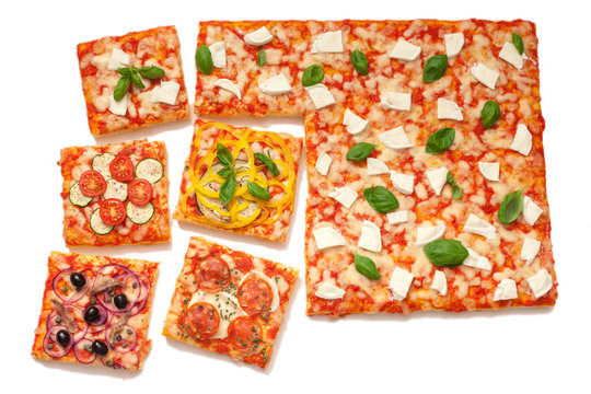 various flavors pizza cut into slices