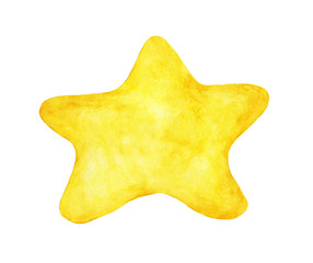 Hand painted watercolor of yellow star isolated on white background.