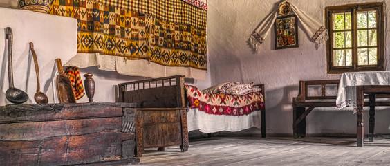 Traditional Romanian folk house interior Wall mural