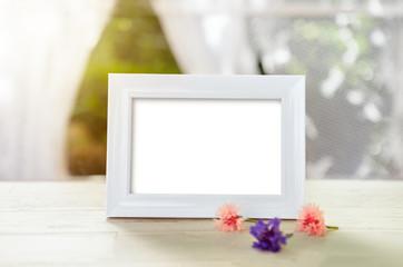White empty frame mockup