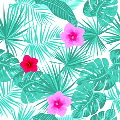 Leaves of palm tree and flowers seamless pattern