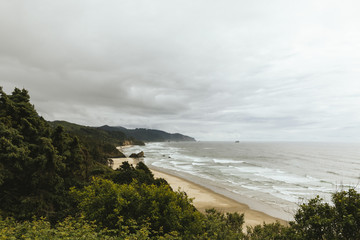 High angle view of beach against cloudy sky