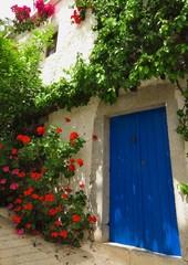 Blue door with flower vines in Kritsa village, Crete, Greece