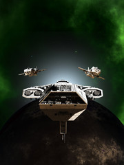 Deep Space Battle Fleet Formation Passing a Dark Planet - science fiction illustration