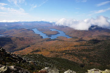 Lake Placid view from top of Whiteface Mountain in fall, Adirondack Mountains, New York State, USA