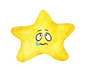 Hand painted watercolor of yellow star crying face isolated on white background. Worry and sad emotional face of yellow star.