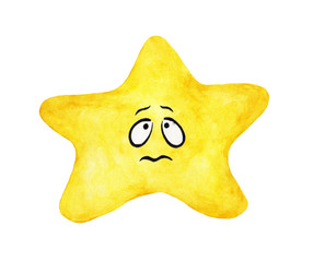 Hand painted watercolor of yellow star face isolated on white background. Worry and sad emotional face of yellow star.