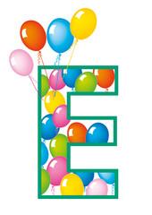 lettera E palloncini compleanno