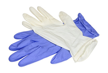White and blue latex gloves