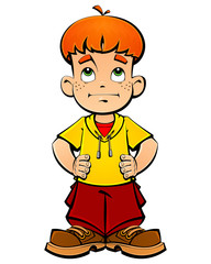 Red-haired boy, a naughty boy.