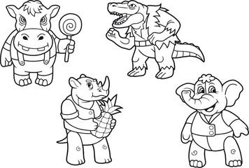 cartoon cute animals set of images