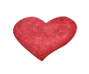 Hand painted watercolor of Red heart isolated on white background.