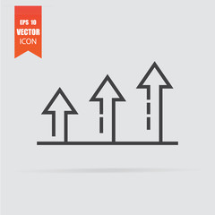 Growth icon in flat style isolated on grey background.