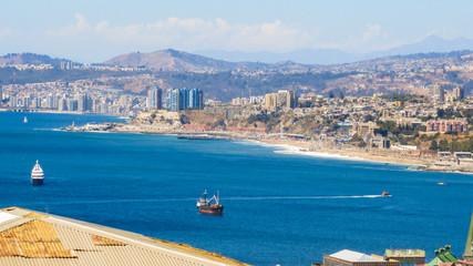 Valparaiso's harbor and cityscape viewed from Cerro Alegre neighborhood (Chile)
