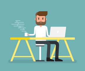 Worker holding coffee mug relax time on desk with laptop. Vector illustration.