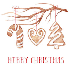 Merry christmas greeting card. Watercolor illustration with branch and gingerbreads