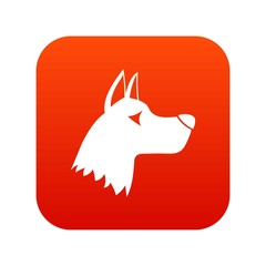 Doberman dog icon digital red