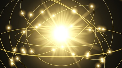 atom illustration with glowing light beams. 3d illustration.