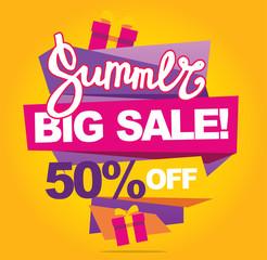 Big mega grand sale banner. Sale 50off. Vector illustration.