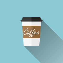Disposable coffee cup icon - flat design illustration with long shadow, vector