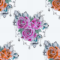 Seamless pattern of a branch from orange and purple roses on a white background.